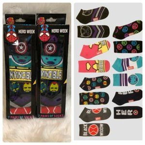 COPY - Lot Of 2 Avengers 7pk Socks Ankle Cut One …